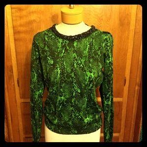 NWT Statement Collar Snake Print Sweater